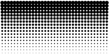 Vertical Gradient Halftone Dots Background, Horizontal Template Using Halftone Dots Pattern. Vector Illustration
