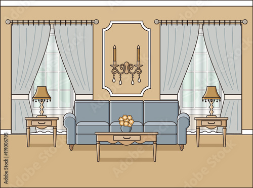 Room Interior Vector Living Room With Windows In Flat