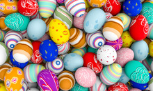 3d Image Of Differently Colored Artistic Easter Eggs, Variations Of Themes And Colors. Nobody Around.