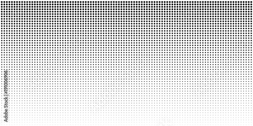 Fotografía  Vertical bw gradient halftone dots background, horizontal template using black halftone dots pattern