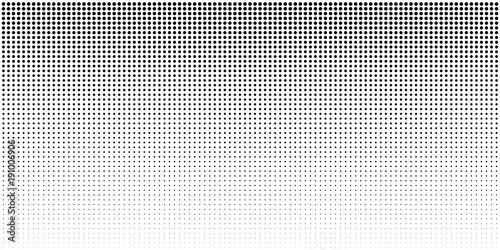Fotografie, Obraz  Vertical bw gradient halftone dots background, horizontal template using black halftone dots pattern
