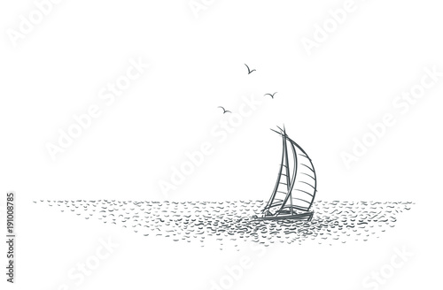 Sailboat/yacht in the sea sketch. Vector. Wallpaper Mural