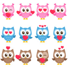 Set Of Cute Pink, Blue And Brown Owls With Hearts