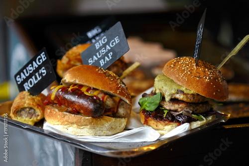 burger in the street market © Iliya Mitskavets