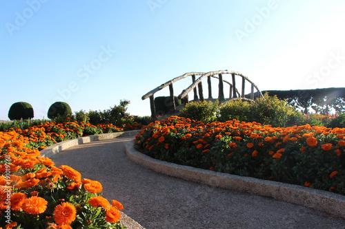 Chinesischer Garten mit schöner Brücke und Blumenbeet am Weg ...