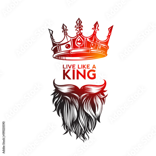 Fotomural Hipster king icon with crown, hand sketch vector illustration design