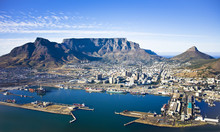 Aerial View Of Cape Town City Centre, With Table Moutain, Cape Town Harbour, Lion's Head And Devil's Peak