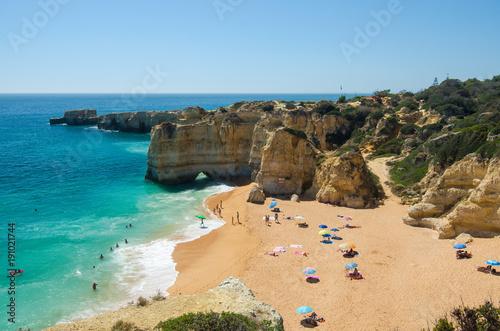 Fotografie, Obraz  View of limestone cliffs and the Rabbit Beach (Praia da Coelha) in Albufeira, Di