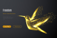Low Poly Illustration Of The Hummingbird With A Golden Dust Effect. Sparkle Stardust. Glittering Vector With Gold Particles On Dark Background. Polygonal Wireframe Of Colibri From Dots And Lines.