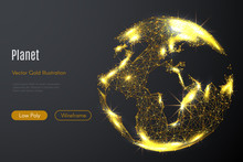 Low Poly Illustration Of The Planet Of Earth With A Golden Dust Effect. Sparkle Stardust. Glittering Vector With Gold Particles On Dark Background. Polygonal Wireframe From Dots And Lines.