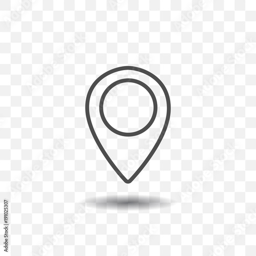 Fotografía Outlined map location pointer icon on transparent background