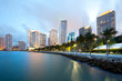 canvas print picture - Skyline of city downtown and Brickell Key, Miami, Florida