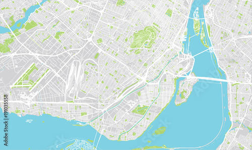 Canvas Print Urban vector city map of Montreal, Canada