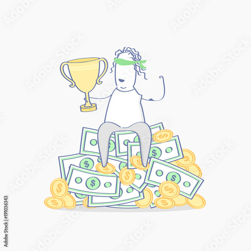 Fotografía  Flat outline cute character sitting with a cup on a pile of money