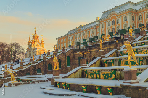 Photo park in winter at sunset in Russia