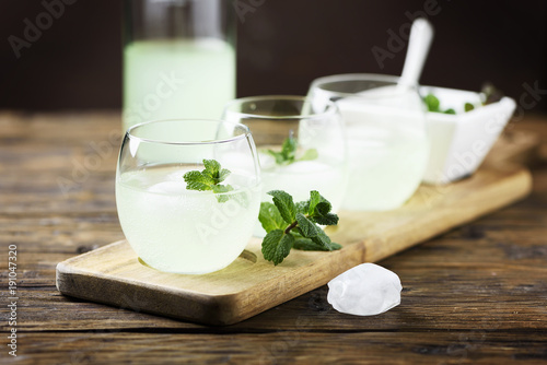 Aluminium Prints Dairy products Summer cocktail with rum, ice and mint