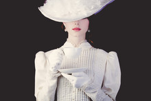 Woman In White Victorian Era C...