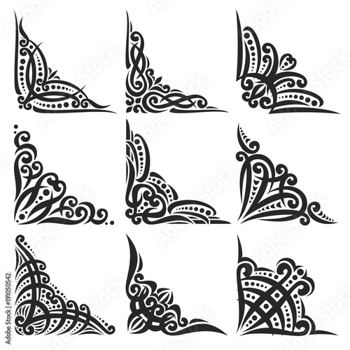 Vector set of decorative black Corners on white for creating frames ...