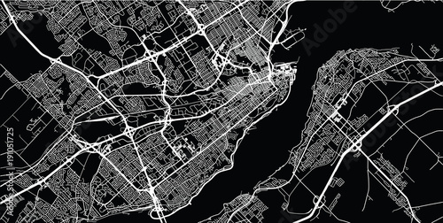 Fototapeta Urban vector city map of Quebec, Canada