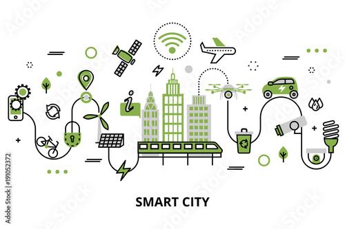 Fotografía  Concept of smart city, technologies of future