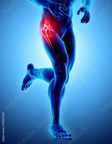 Obraz Hip painful skeleton x-ray, 3D illustration. - fototapety do salonu