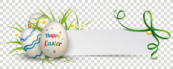 Paper Banner Green Ribbon Happy Easter Eggs