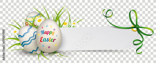 Photo  Paper Banner Green Ribbon Happy Easter Eggs