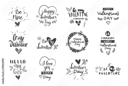 valentine day labels badges and icons love greetings cards