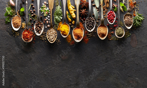 Photo Stands Spices Spices and herbs on graphite board