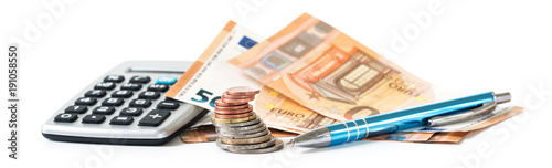 Fotografía financial planning with coins and euro banknotes, a calculator and a pen isolate