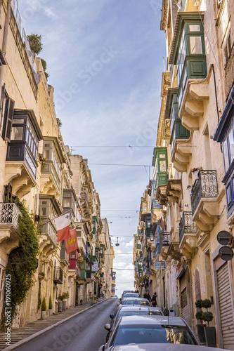 Plakat Kolorowy Valleta Malta Europa podczas wakacji, stary centrum Valletta Malta