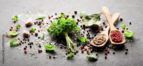Wall Murals Spices Herbs and spices on a black board