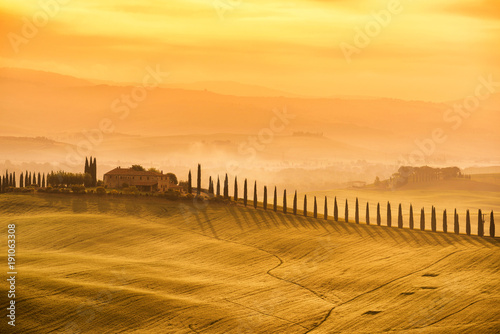Deurstickers Toscane Tuscany - Landscape sunrise view, hills farm and meadow, Toscana - Italy