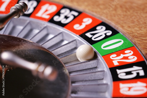 Macro shot of a roulette in a casino where the ball goes to