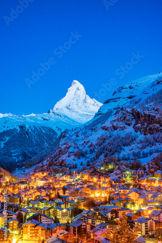 Early Morning landscape View on Zermatt city village  Valley and Matterhorn Peak Canvas Print