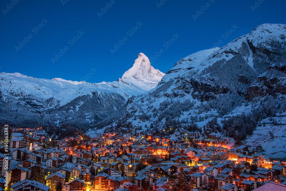 Fototapety, obrazy: Early Morning landscape View on Zermatt city village  Valley and Matterhorn Peak in the Morning, Switzerland