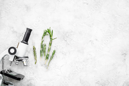 Fototapeta Analysing food concept. Healthy products. Herbs rosemary near microscope on grey background top view copy space obraz na płótnie
