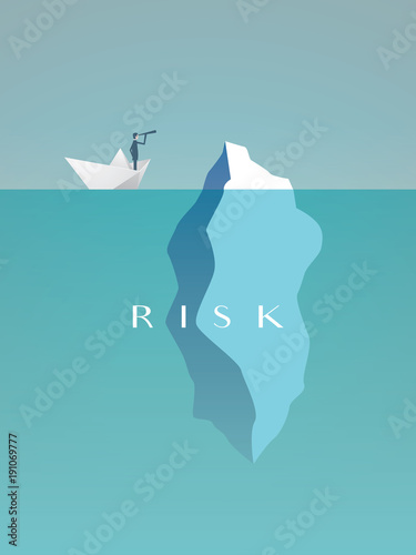 Business risk vector concept with businessman in paper boat sailing close to iceberg. Symbol of danger, challenge, courage. Wall mural