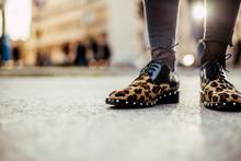 Girl In Leopard Print Flat Sho...