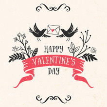 Valentine's Day Greeting Card With Lettering, Ribbon, Birds And Other Decorative Elements. Vector Hand Drawn Illustration.
