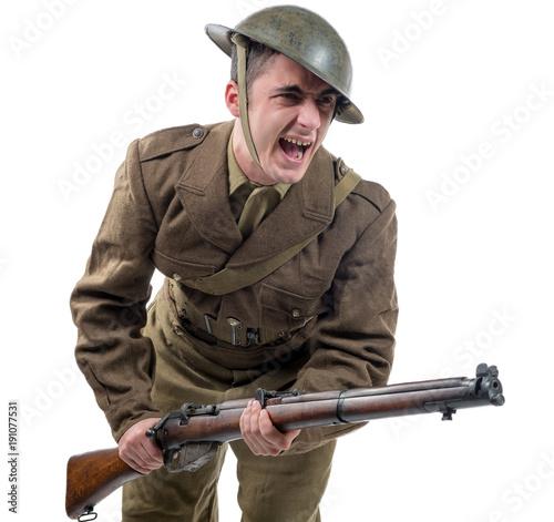 Obraz na płótnie WW1 British Army Soldier from France 1918, on white
