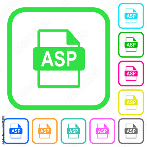 ASP file format vivid colored flat icons Canvas Print