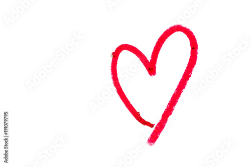 Red heart shape written from red lipstick on white background with copy space fo Tableau sur Toile