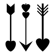 Set Of Cupid Arrow Symbol Isolated On White