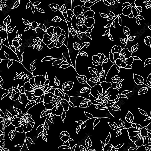 Seamless Pattern With Flowers White Lines On Black Background Vector Floral Wallpaper Buy This Stock Vector And Explore Similar Vectors At Adobe Stock Adobe Stock