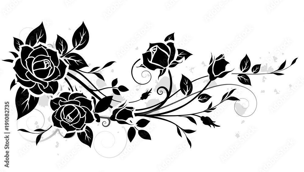 Fototapety, obrazy: Decorative ornament with rose and leaves silhouette. Vector floral pattern
