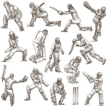 Cricket Sport Collection. Cricketers. Full Sized Hand Drawings On White Background. Isolated.
