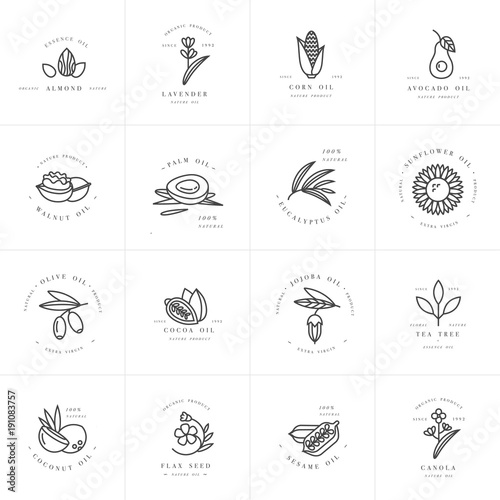 Valokuva  Vector set design templates and emblems - healthy and cosmetics oils