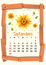 Calendar Template With Sunflow...