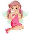 Cute fairy in pink dress